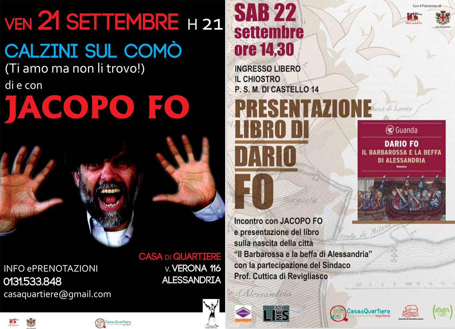 Jacopo Fo ad Alessandria 21-22 settembre